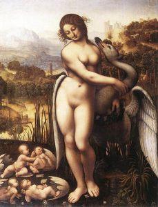 The God Zeus as a seductive long-necked swan